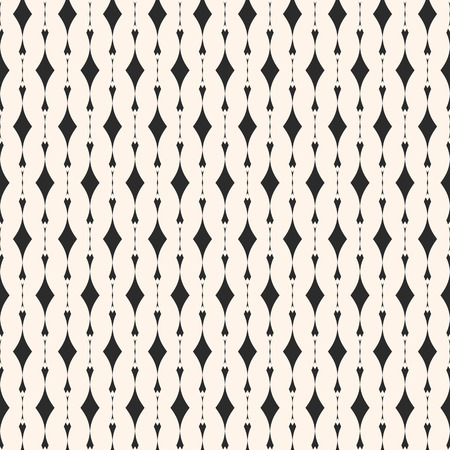 Geometric seamless pattern. Abstract monochrome background with vertical lines, curved shapes, rhombuses. Elegant texture, art deco style. Design for decor, prints, fabric, textile. Stock vector