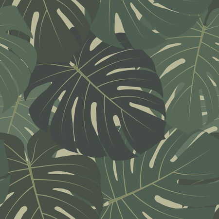 Vector tropical jungle seamless pattern with green leaves of palm trees (monstera plant). Elegant summer floral background. Wildlife theme, rainforest. Repeat design for decoration, prints, clothing Illustration