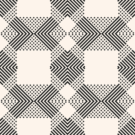 Vector monochrome geometric seamless pattern with crossing diagonal lines, stripes, squares. Modern linear geometry texture. Abstract black and white background. Stylish design for decoration, prints Ilustração