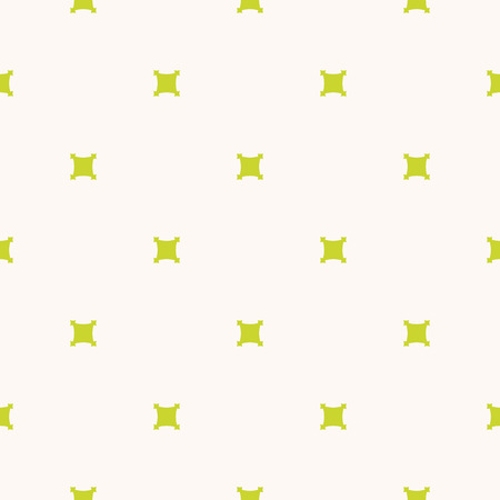 Minimalist geometric seamless pattern. Lime green and beige color. Funky positive summer background design. Simple vector abstract texture with small square shapes, crosses, dots. Fresh organic theme