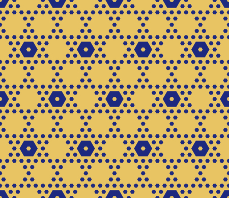 Vector hexagonal seamless pattern in yellow and blue colors. Perforated surface, grid, lattice, small hexagon shapes. Minimalist abstract repeat background. Simple design for decoration, wallpapers