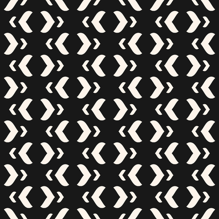 Vector geometric texture with curved arch shapes. Abstract modern black and white seamless pattern. Stylish minimalist monochrome background. Dark repeat design for decor, textile, fabric, clothing Vettoriali