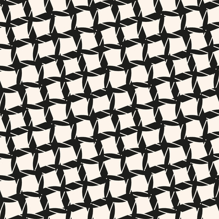 Vector seamless pattern with diagonal grid, ropes, cross lines. Abstract black and white geometric texture of mesh, net, fabric, cloth, lattice. Monochrome repeat background. Design for decor, prints