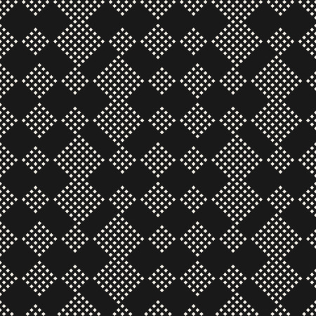 Vector geometric seamless pattern. Abstract minimalist ornament with tiny square shapes. Subtle black and white texture. Modern urban background. Stylish dark design for decoration, covers, wrapping