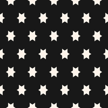 Simple black and white seamless pattern with star figures. Vector abstract geometric texture. Funky monochrome background. Stylish repeat design for decoration, textile, fabric, furniture, cloth, wrap
