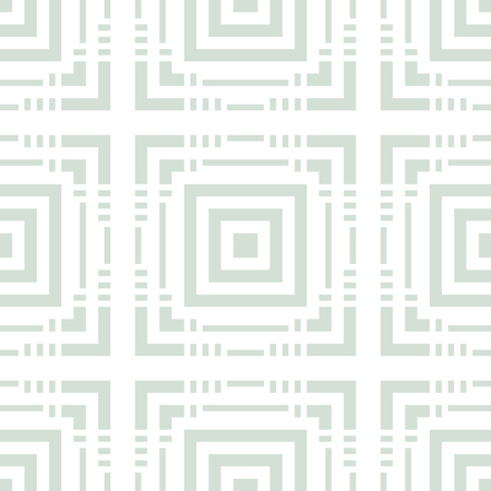 Vector geometric seamless pattern with squares, lines, grid, lattice. Elegant pale green and white linear texture. Delicate abstract background. Modern repeat design for decor, fabric, cloth, wrapping