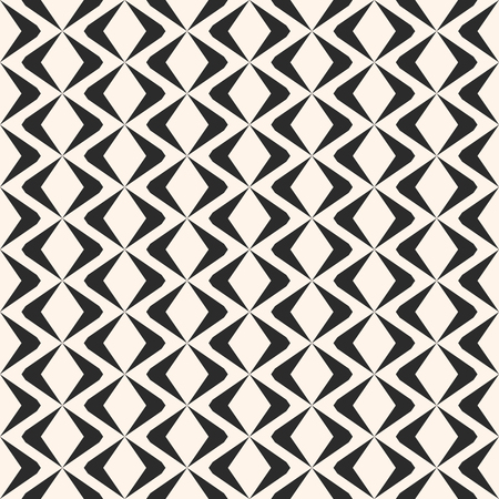 Vector geometric seamless pattern with rhombuses, diamond shapes, mesh, grid, lattice, net. Simple black and white ornament texture. Abstract monochrome ornamental background. Elegant repeat design