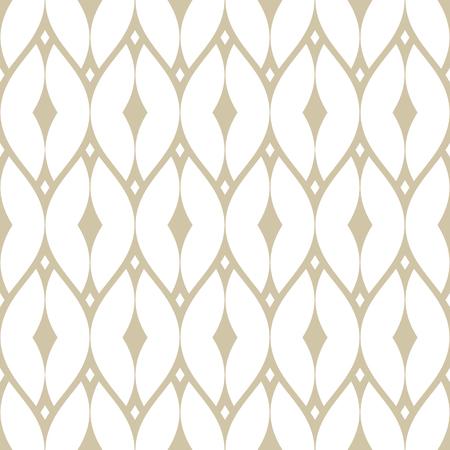 Modèle sans couture de vecteur maille dorée. Texture d'ornement de répétition géométrique subtile avec de fines lignes courbes, filet délicat, grille, treillis, dentelle, clôture. Fond de luxe blanc et beige. Conception de style art déco Vecteurs
