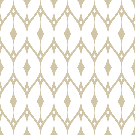 Vector golden mesh seamless pattern. Subtle geometric repeat ornament texture with thin curved lines, delicate net, grid, lattice, lace, fence. White and beige luxury background. Art deco style design