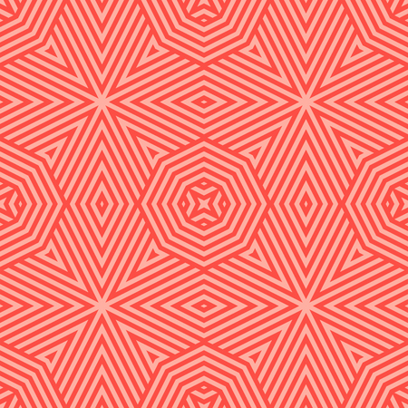 Vector geometric lines seamless pattern. Stylish red and coral background. Modern abstract graphic texture with stripes, octagons, triangles, rhombuses, diagonal lines. Trendy repeat decorative design