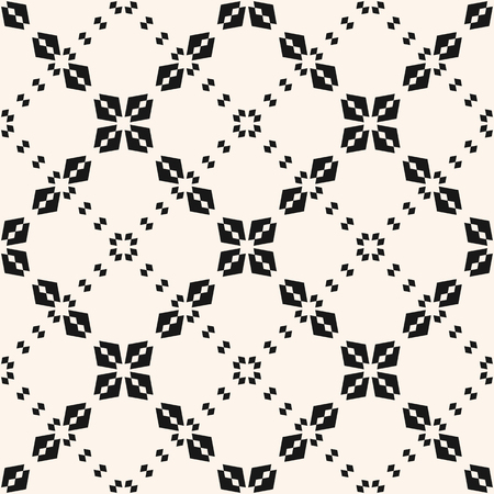 Vector seamless pattern. Abstract floral grid texture. Elegant black and white geometric ornament with small flower shapes, rhombuses, diamonds, delicate lattice, mesh, net. Simple repeat background