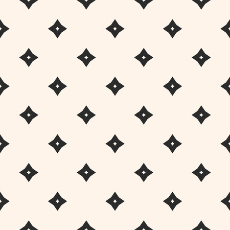 Vector geometric texture. Abstract seamless pattern with small diamonds, stars, rhombuses, flower shapes. Subtle minimal background. Black and white design for decoration, textile, carpet, clothing Stock Illustratie