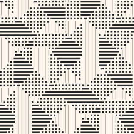 Geometrisches Vektormuster. Abstrakter grafischer Hintergrund mit Linien, Streifen, Quadraten, kleinen Elementen. Einfache monochrome Textur. Hintergrund der modernen linearen Geometrie. Stilvolles Schwarz-Weiß-Repeat-Design Vektorgrafik