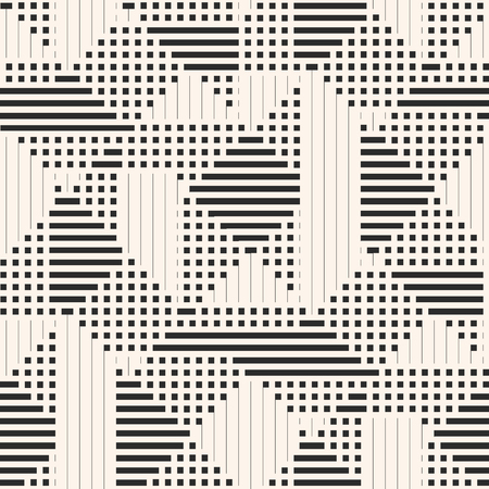 Vector geometric pattern. Abstract graphic background with lines, stripes, squares, small elements. Simple monochrome texture. Modern linear geometry background. Stylish black and white repeat design Vetores
