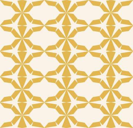 Vector seamless geometric pattern. Abstract yellow texture with hexagonal grid, diamonds, triangles, lattice. Simple modern repeat background. Design for decoration, wallpapers, textile, fabric, cloth