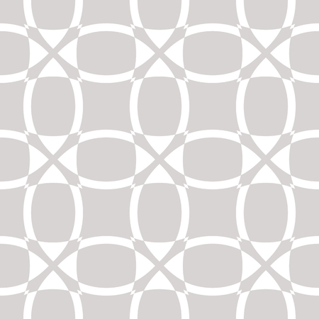 Subtle vector geometric seamless pattern. Fine texture with grid, net, mesh, lattice, weave, cross lines, curved shapes. Simple abstract background in white and beige colors. Minimal repeat design