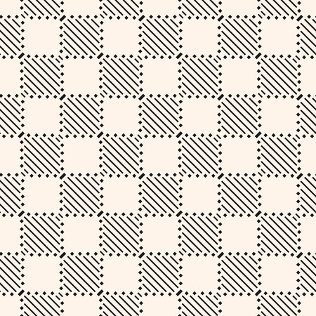 Vector geometric seamless pattern with stripes, diagonal lines, squares. Modern abstract checkered texture. Stylish geometrical monochrome background. Repeat design element for decor, fabric, prints Illusztráció