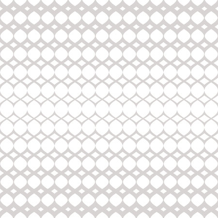 Silver halftone seamless pattern. White and gray vector texture of mesh, lace, weave, tissue, grid, lattice. Vertical gradient transition effect. Abstract geometric background. Luxury repeat design Illusztráció