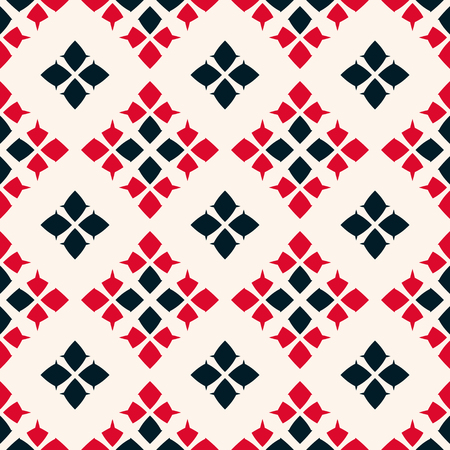 Traditional folk ornament. Vector geometric seamless pattern. Tribal ethnic motif background. Ornamental texture with rhombuses, flower shapes, diamonds. Red, black and white colors. Repeat design