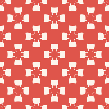 Abstract geometric vector seamless pattern. Simple vintage texture with crosses, flower shapes, repeat tiles. Elegant ornamental red and white background. Design for decor, wallpapers, fabric, textile Illusztráció