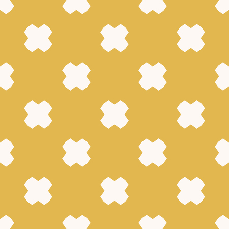 Vector minimalist floral seamless pattern. Simple abstract texture with geometric flowers, crosses. Cute background in yellow mustard and white colors. Repeatable design for decor, prints, textile