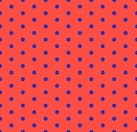 Vector minimalist geometric seamless pattern with tiny hexagons. Colorful funky style texture. Trendy bright colors, red and electric blue. Retro 80-90's fashion background. Repeating minimal design Archivio Fotografico - 127594560