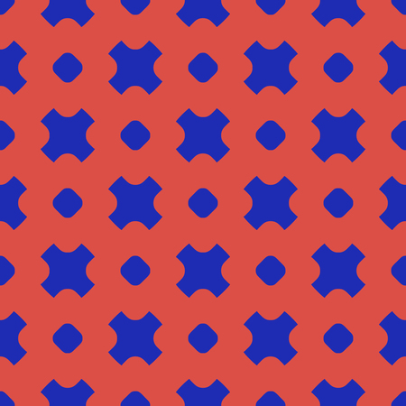 Simple vector geometric seamless pattern with circles and crosses. Colorful funky style texture. Trendy bright colors, red and electric blue. Retro 80-90s fashion background. Repeat design for decor