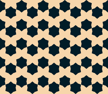 Vector geometric floral seamless pattern. Abstract background in black and tan colors. Graphic texture with flower shapes, hexagons, small elements. Repeatable ornamental design. Retro vintage style