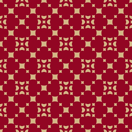 Luxury red and gold vector geometric seamless pattern with floral figures, small squares, diamond shapes, repeat tiles. Abstract seamless background. Elegant modern texture in traditional Asian style Illusztráció