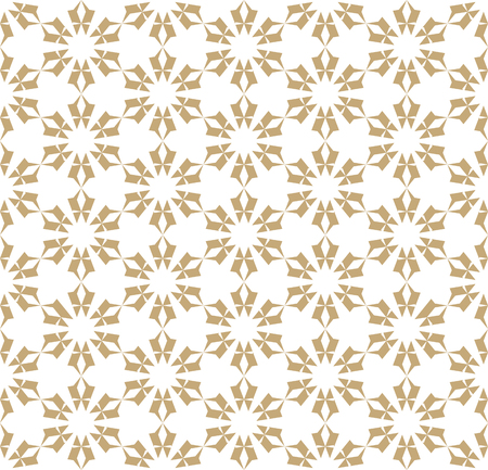 Vector golden floral seamless pattern. Elegant geometric background with flower shapes, stars, snowflakes, repeat tiles. White and gold abstract ornament texture. Holiday festive design element
