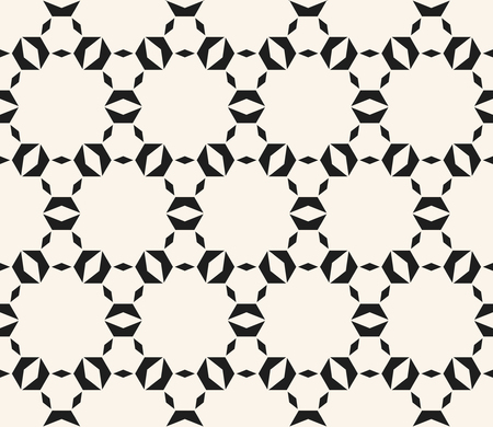 Black and white seamless pattern. Vector geometric ornament with small shapes, hexagonal grid, lattice, net, repeat tiles. Luxury ornamental background. Honeycomb texture. Abstract monochrome design