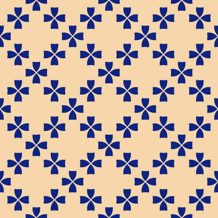 Elegant vector geometric floral seamless pattern in navy blue and beige colors. Retro vintage style ornament. Abstract background texture with small flowers. Luxury design for home decor, textile