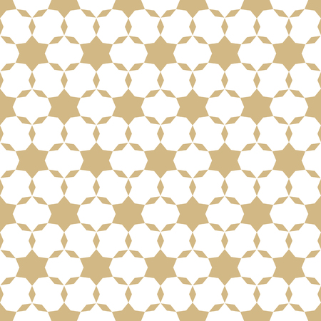 Elegant golden vector geometric seamless pattern. Simple gold and white texture with small stars, floral shapes, grid, net. Abstract minimal background. Luxury repeat design for festive decor, prints 向量圖像