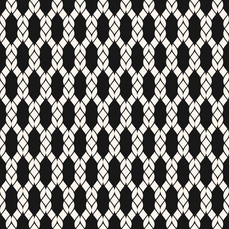 Modèle sans couture de maille de vecteur. Texture nautique géométrique noir et blanc avec résille, tissage, tricot, grille, treillis, tissu, cordes. Fond monochrome abstrait simple. Répéter la conception décorative