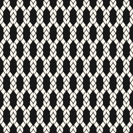 Vector mesh seamless pattern. Black and white geometric nautical texture with fishnet, weave, knitting, grid, lattice, fabric, ropes. Simple abstract monochrome background. Repeat decorative design Vettoriali