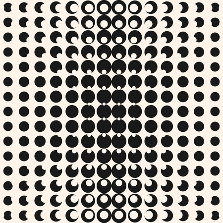 Vector geometric halftone seamless pattern with circles, dots. Monochrome texture. Abstract black and white repeat background with radial gradient transition. Optical illusion effect. Modern design