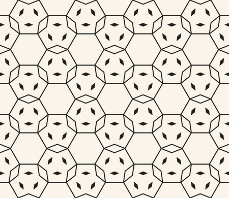 Vector black and white seamless pattern. Monochrome geometric ornament with small shapes, hexagonal grid, lattice, net. Delicate ornamental background. Abstract fine line texture. Repeatable design