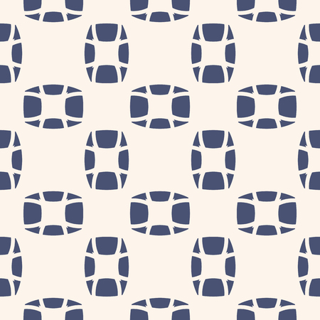 Vector geometric seamless pattern. Abstract mosaic texture. Ornamental background in navy blue and white colors. Ornament with small ovate shapes, repeat tiles. Modern design for decor, prints, fabric Vettoriali