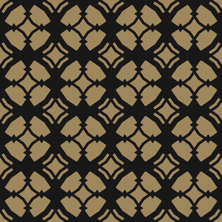 Golden vector ornamental seamless pattern in Arabian style. Elegant gold and black texture with carved grid, lattice, mesh, net, repeat geometric tiles. Moroccan style background. Luxury design