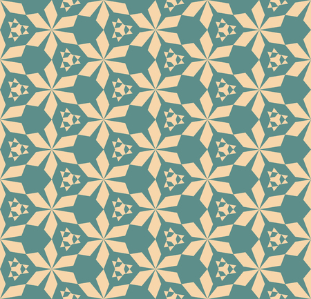 Vector abstract geometric seamless pattern with triangular shapes, hexagonal grid, flower silhouettes. Retro vintage ornamental texture, repeat background. Elegant ornament in tan and teal colors Vector Illustratie