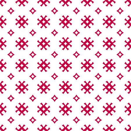 Vector seamless pattern. Traditional Scandinavian motif. Elegant Christmas background. Red and white geometric texture with small flowers, crosses, rhombuses. Winter holiday ornament. Repeat design