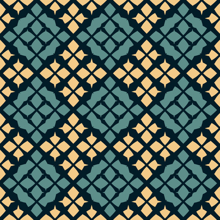 Vector geometric seamless pattern. Traditional folk ornament. Texture with rhombuses, flower silhouettes, diamonds. National ethnic motif. Turquoise green, yellow and black colors. Repeat background