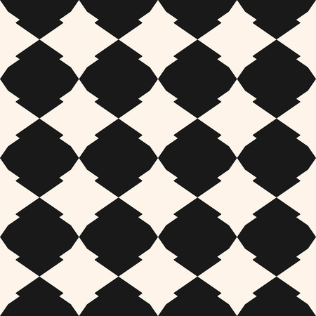 Vector geometric seamless pattern in Islamic style. Moroccan tiles. Abstract black and white texture with rhombuses, diamond shapes. Simple monochrome ornament background. Repeat design element
