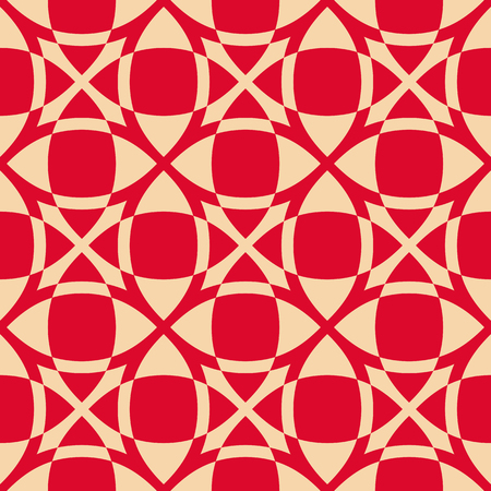 Vector geometric seamless pattern. Luxury red and gold texture with smooth grid, squares, crosses, net, mesh, lattice. Simple abstract ornamental background, repeat tiles. Design for decor, prints