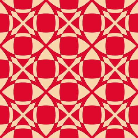 Vector geometrische naadloze patroon. Luxe rode en gouden textuur met glad raster, vierkanten, kruisen, net, gaas, rooster. Eenvoudige abstracte decoratieve achtergrond, herhaal tegels. Ontwerp voor decor, prints Vector Illustratie