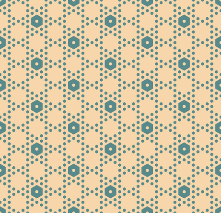 Hexagon texture, vector seamless pattern in soft muted colors, teal and tan. Perforated surface, hexagonal grid. Minimalist abstract repeat background. Simple minimal design for decor, textile, wrap Illustration