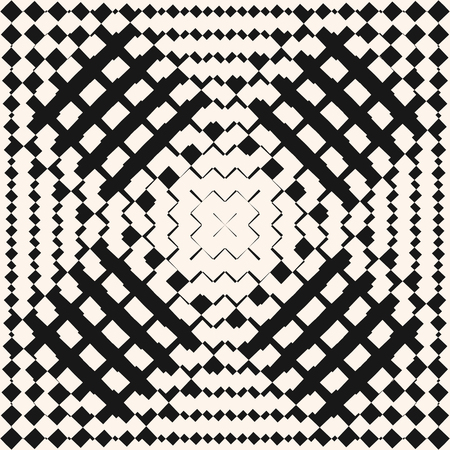 Vector geometric seamless pattern. Black and white checkered texture with squares, grid. Radial gradient transition effect. Ornamental graphic background. Abstract monochrome repeatable design