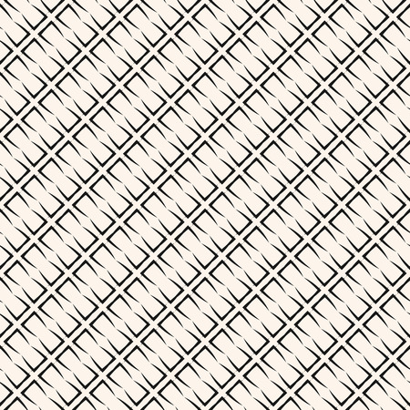 Vector geometric seamless pattern with grid, lattice, mesh, net, grill, thin diagonal lines, repeat tiles. Stylish black and white texture. Simple abstract monochrome background. Repeating design