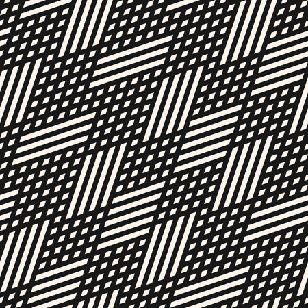 Vector geometric lines seamless pattern. Abstract graphic background with crossing diagonal lines, grid, lattice, rhombuses, chevron, zigzag. Black and white linear texture. Design for decor, fabric