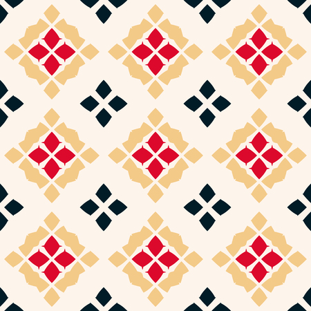 Vector geometric seamless pattern. Traditional folk ornament. Ornamental texture with rhombuses, flower shapes, diamonds. National ethnic motif. Red, black, yellow and white colors. Repeat background